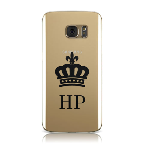 Personalised Black Crown & Initials Clear Samsung Galaxy Case