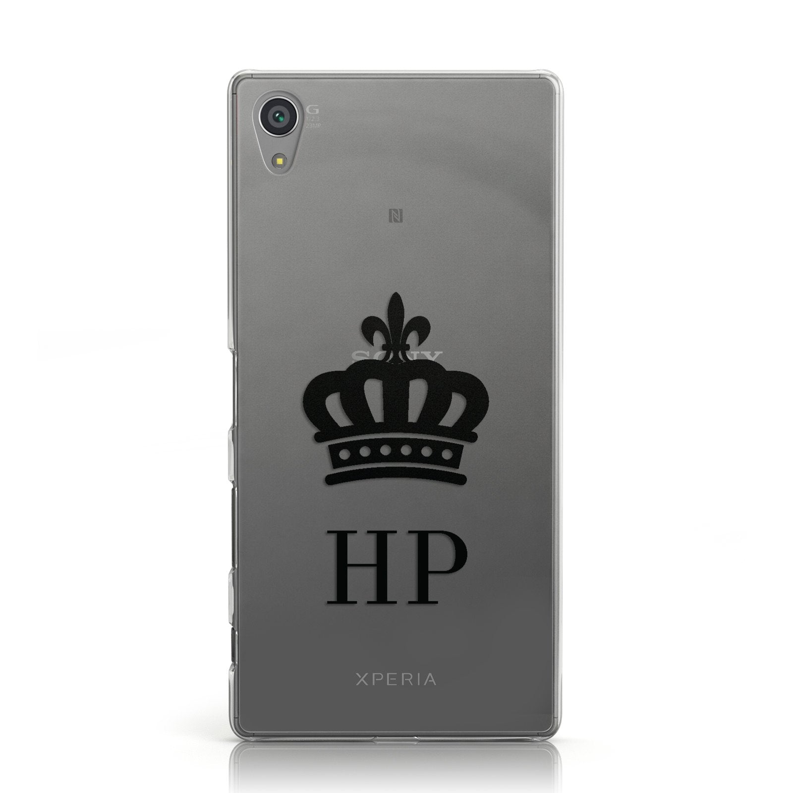 Personalised Black Crown & Initials Clear Sony Xperia Case