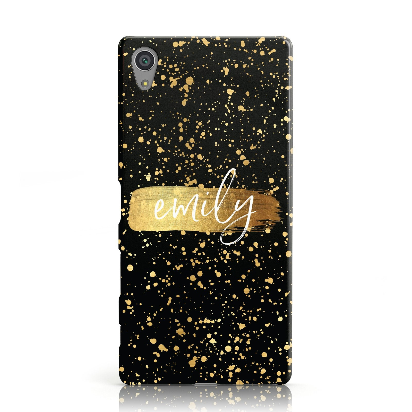Personalised Black & Gold Ink Splat Name Sony Xperia Case