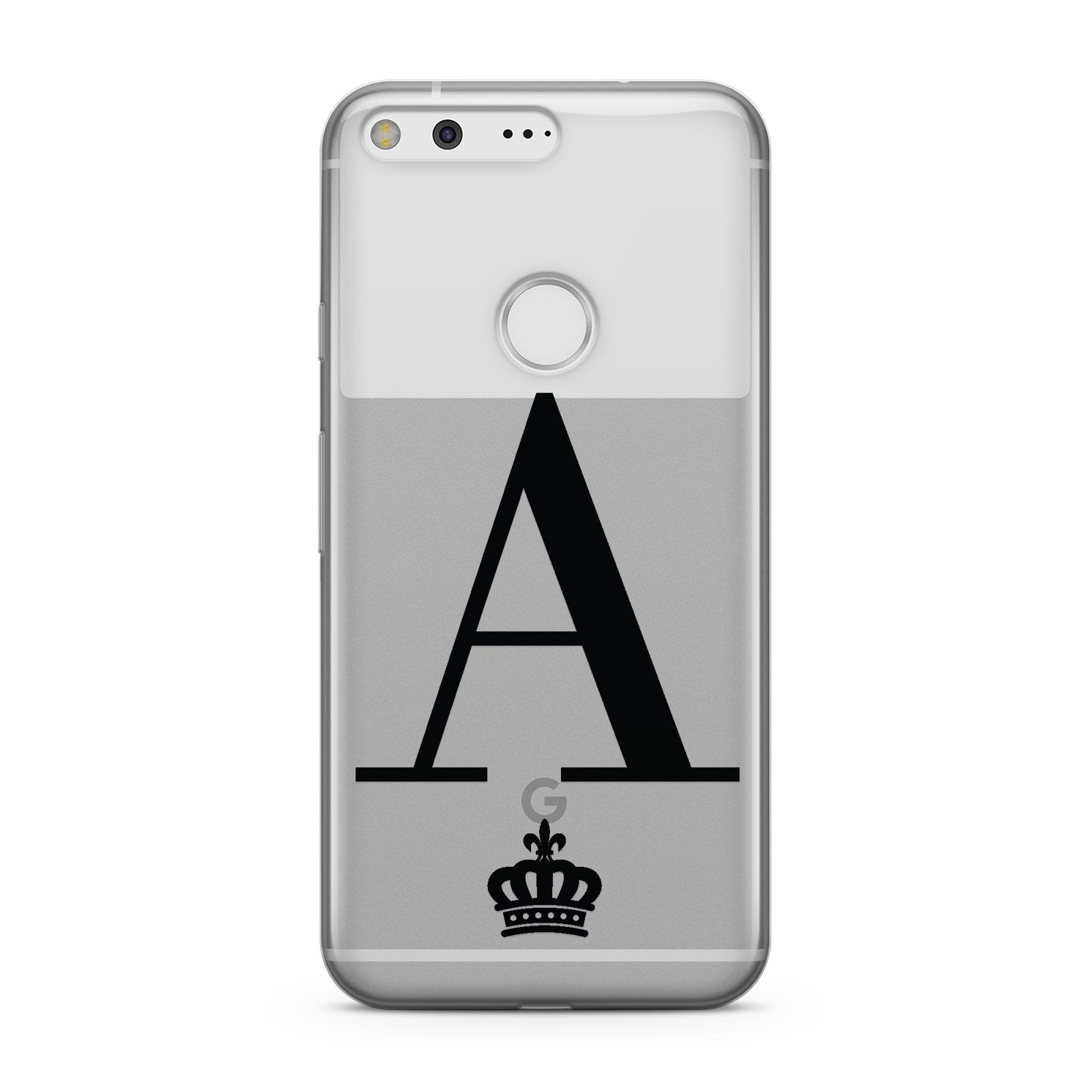 Personalised Black Initial & Crown Clear Google Case