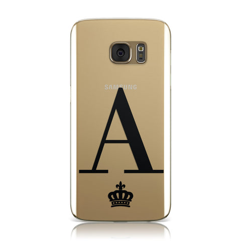 Personalised Black Initial & Crown Clear Samsung Galaxy Case