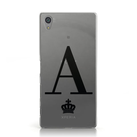 Personalised Black Initial & Crown Clear Sony Xperia Case