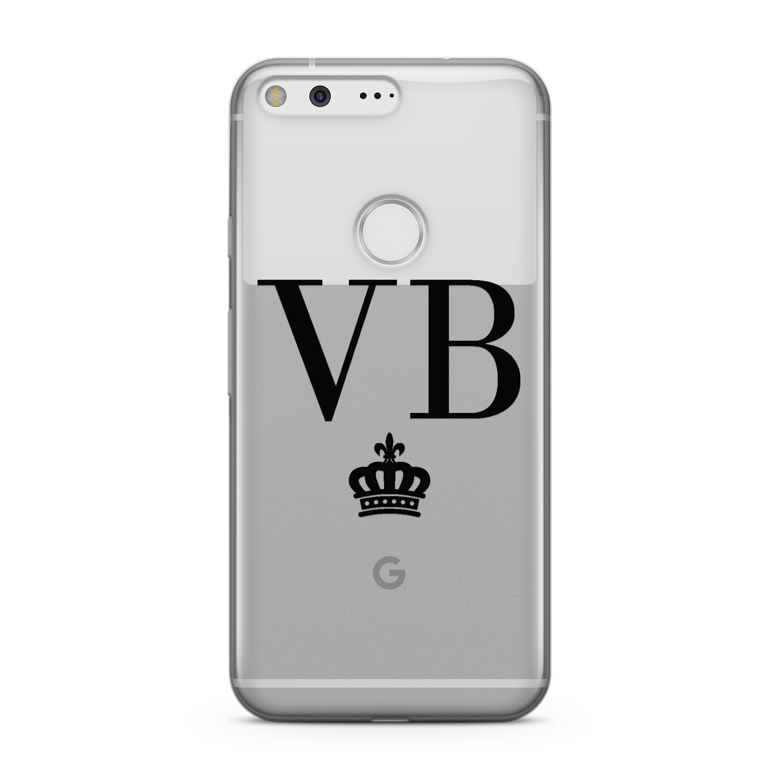 Personalised Black Initials & Crown Clear Google Case