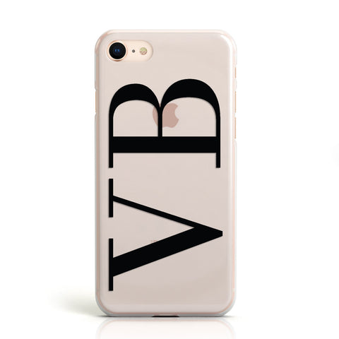 Personalised Black Initials Customised Clear Apple iPhone Case