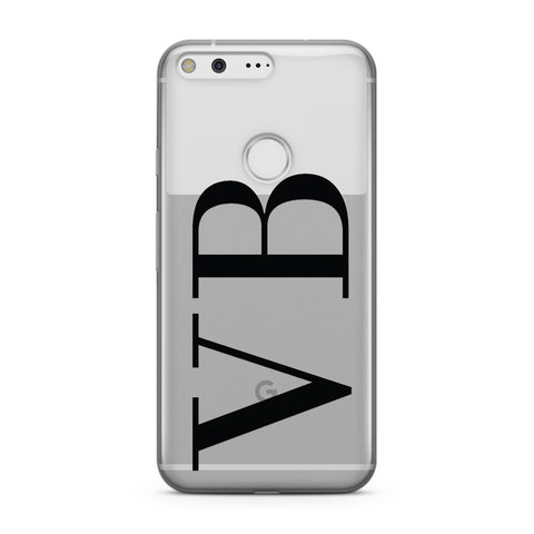 Personalised Black Initials Customised Clear Google Case
