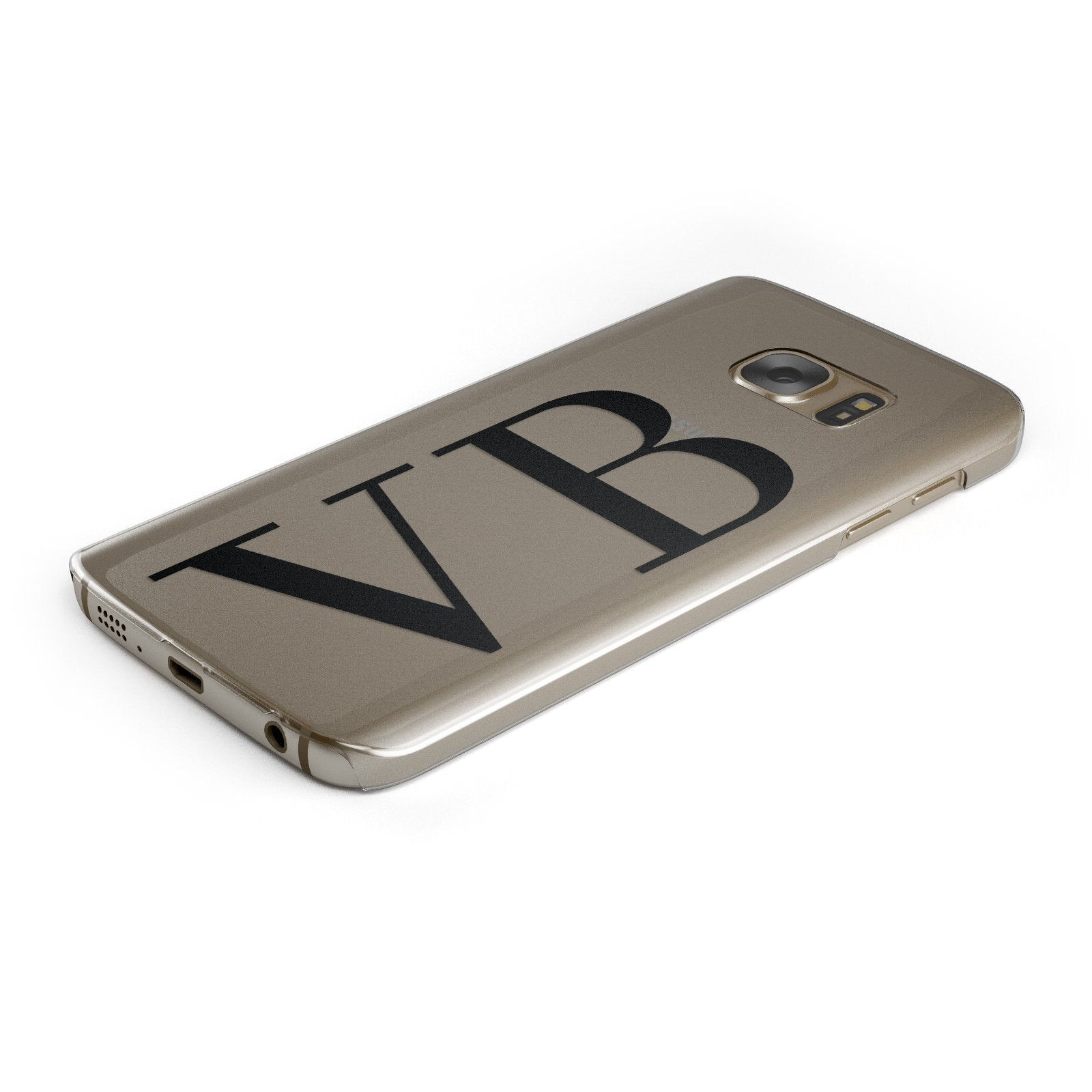 Personalised Black Initials Customised Clear Samsung Galaxy Case Bottom Cutout