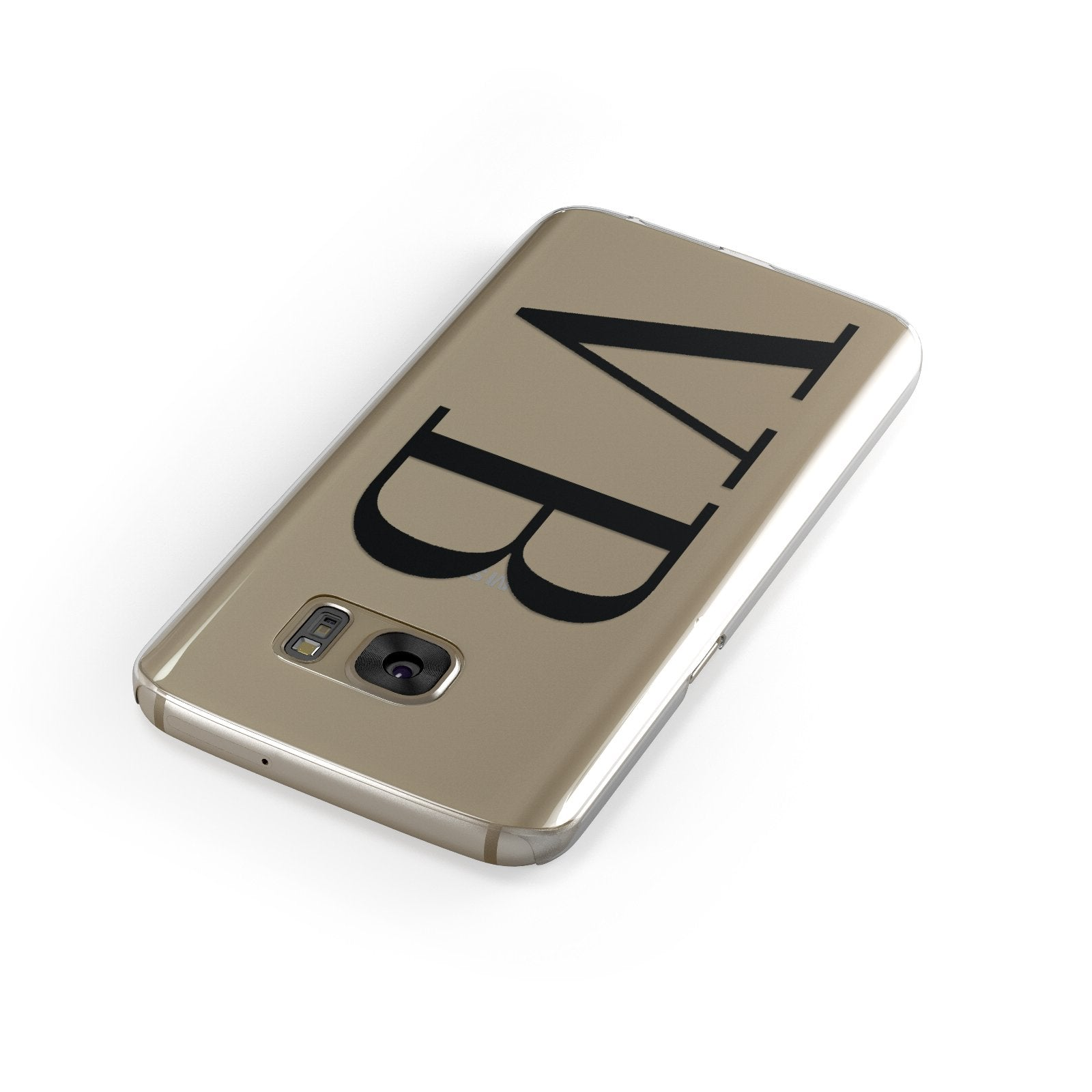 Personalised Black Initials Customised Clear Samsung Galaxy Case Front Close Up