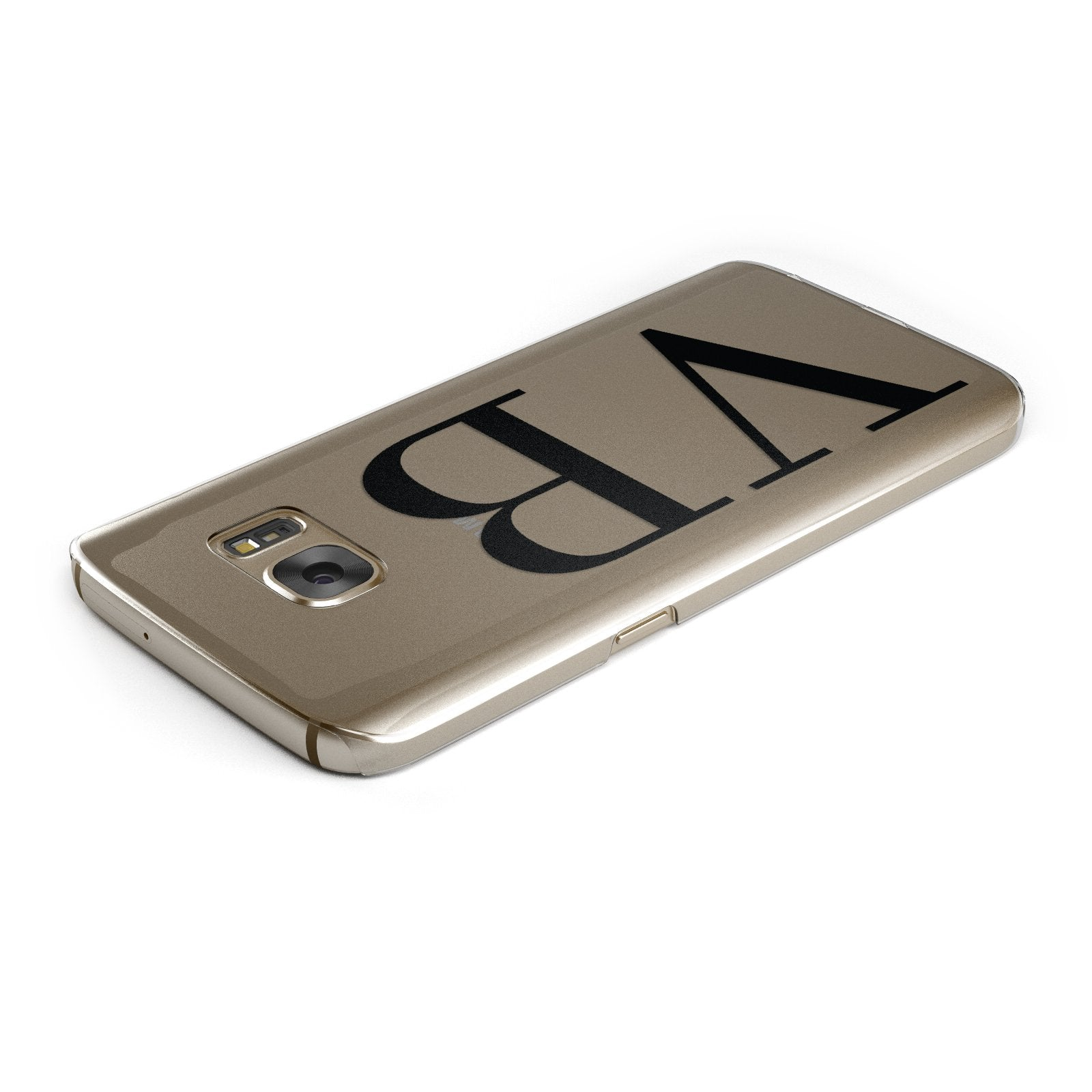 Personalised Black Initials Customised Clear Samsung Galaxy Case Top Cutout