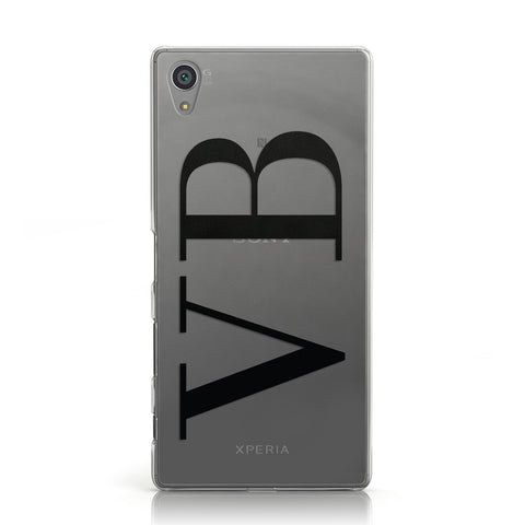 Personalised Black Initials Customised Clear Sony Xperia Case