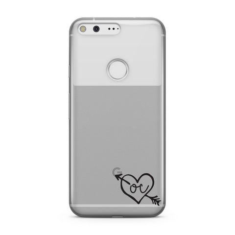 Personalised Black Initials Heart & Arrow Google Case