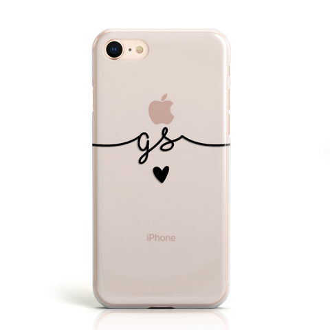 Personalised Black Initials Or Name Clear Custom Apple iPhone Case
