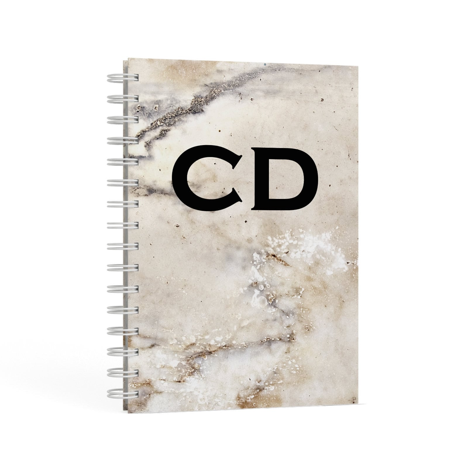 Black Initials Yellow Marble A5 Hardcover Notebook Second Side View