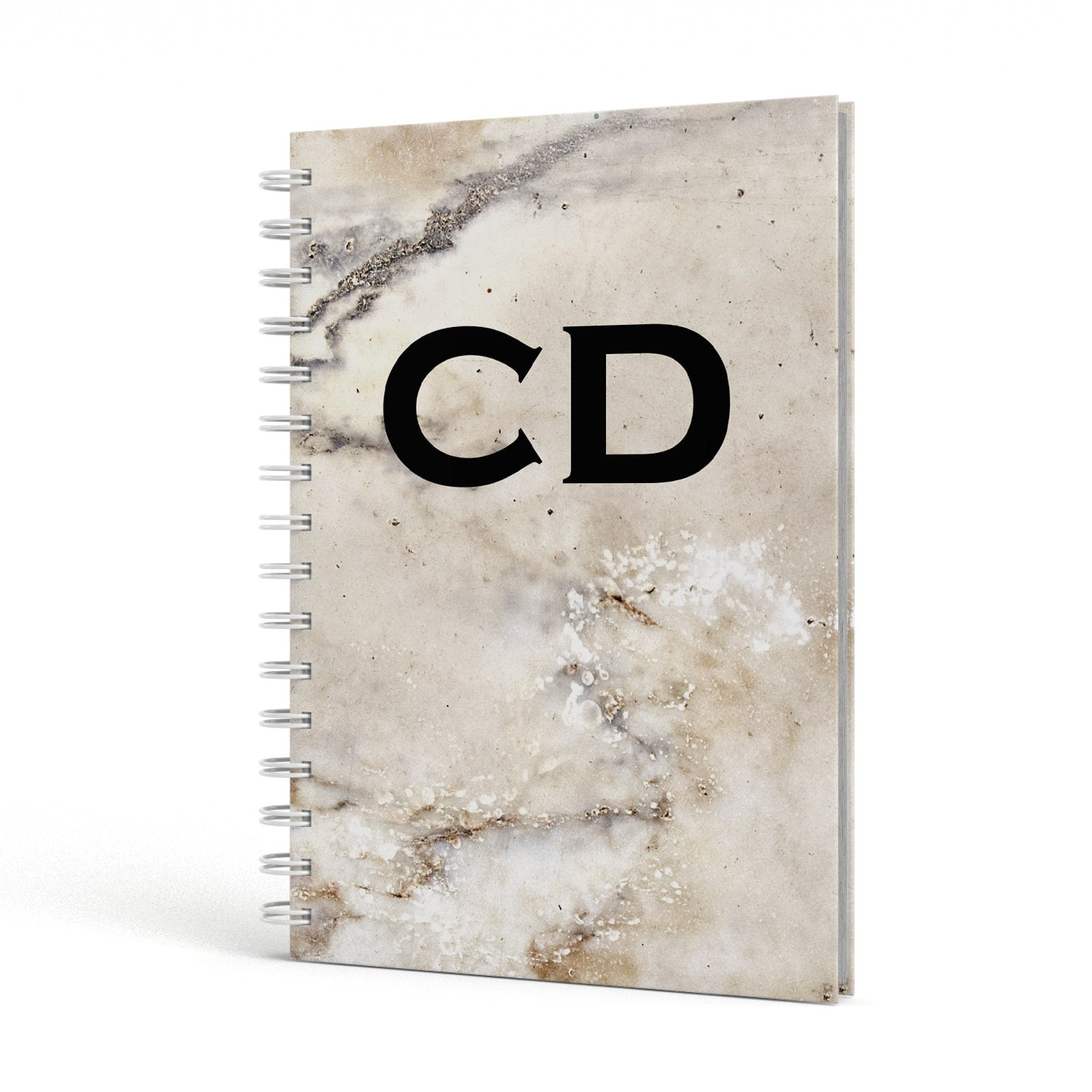 Black Initials Yellow Marble A5 Hardcover Notebook Side View