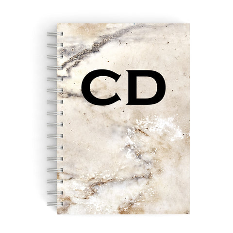 Black Personalised Initials Yellow Marble A5 Hardcover Notebook