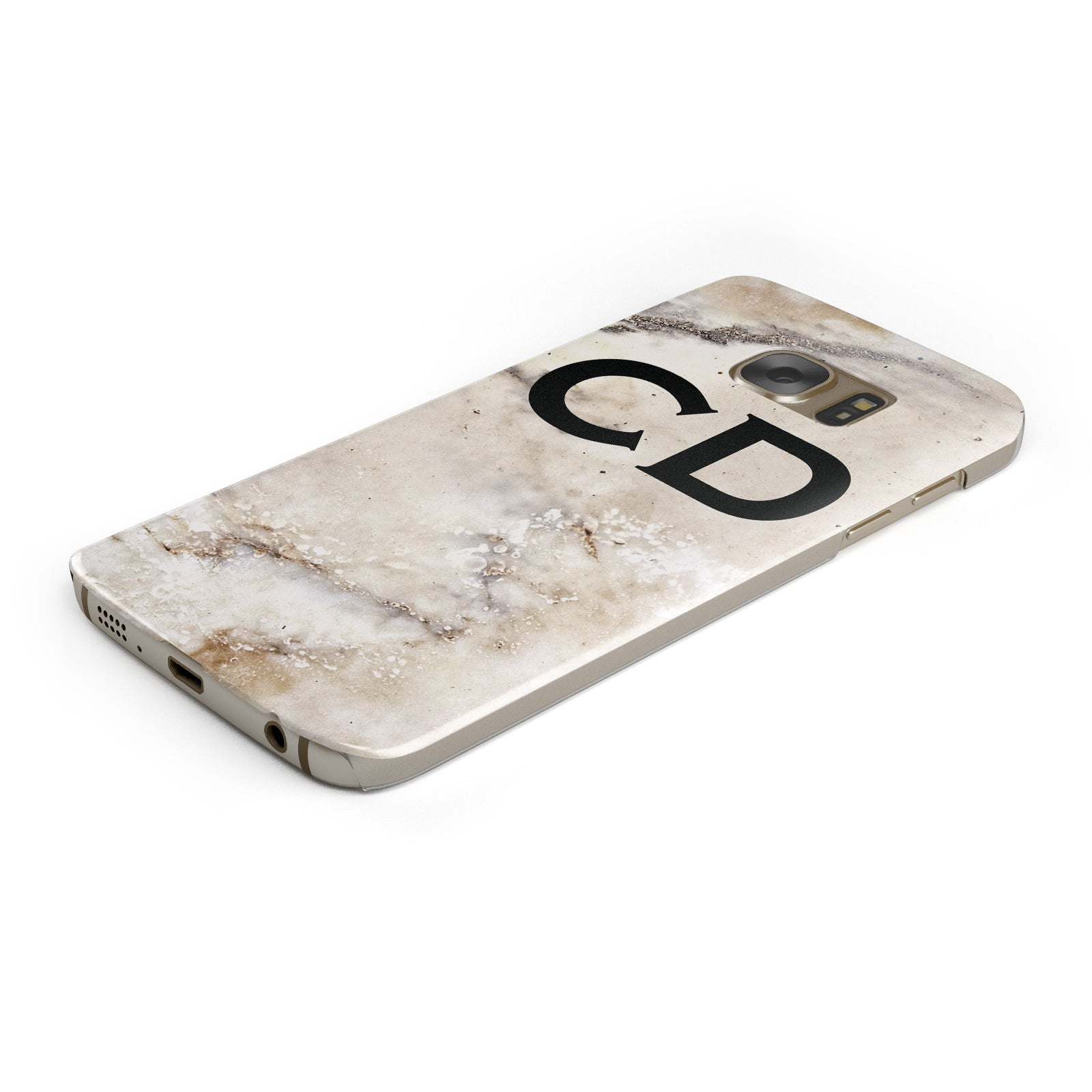 Black Initials Yellow Marble Samsung Galaxy Case Bottom Cutout
