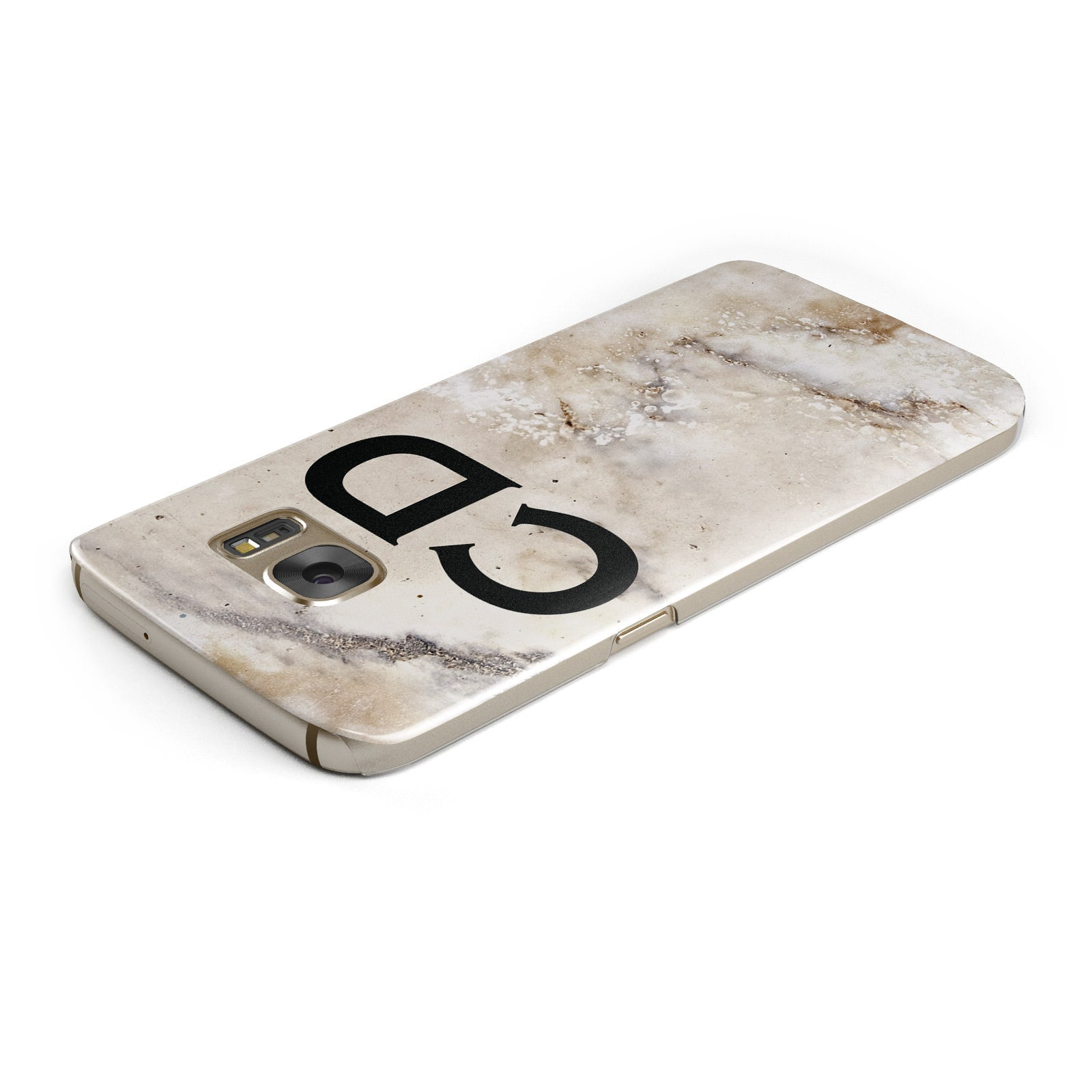 Black Initials Yellow Marble Samsung Galaxy Case Top Cutout