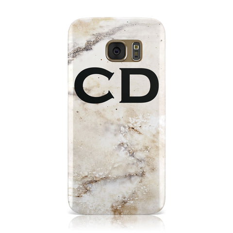 Black Initials Yellow Marble Samsung Galaxy Case