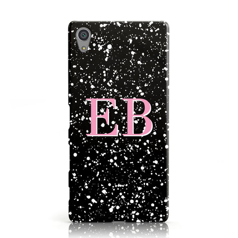 Personalised Black Ink Splat & Initials Sony Xperia Case