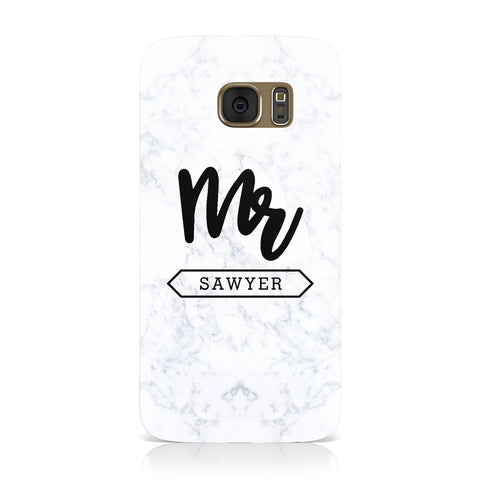 Personalised Black Mr Surname On Marble Samsung Galaxy Case