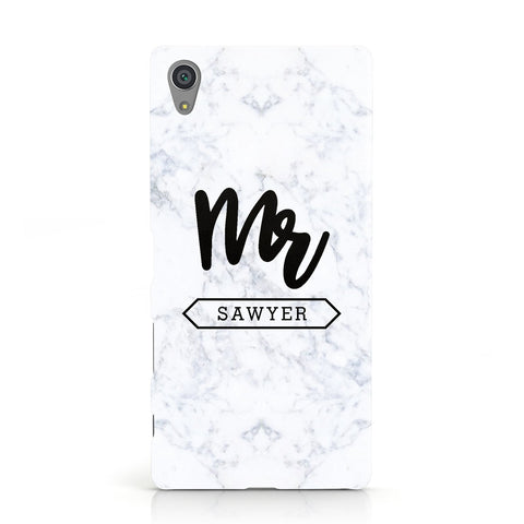 Personalised Black Mr Surname On Marble Sony Xperia Case