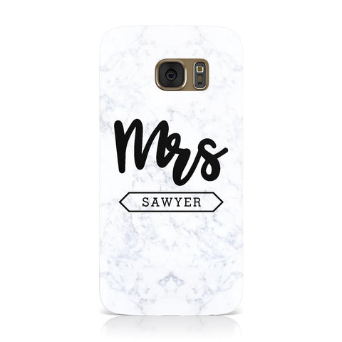 Personalised Black Mrs Surname On Marble Samsung Galaxy Case