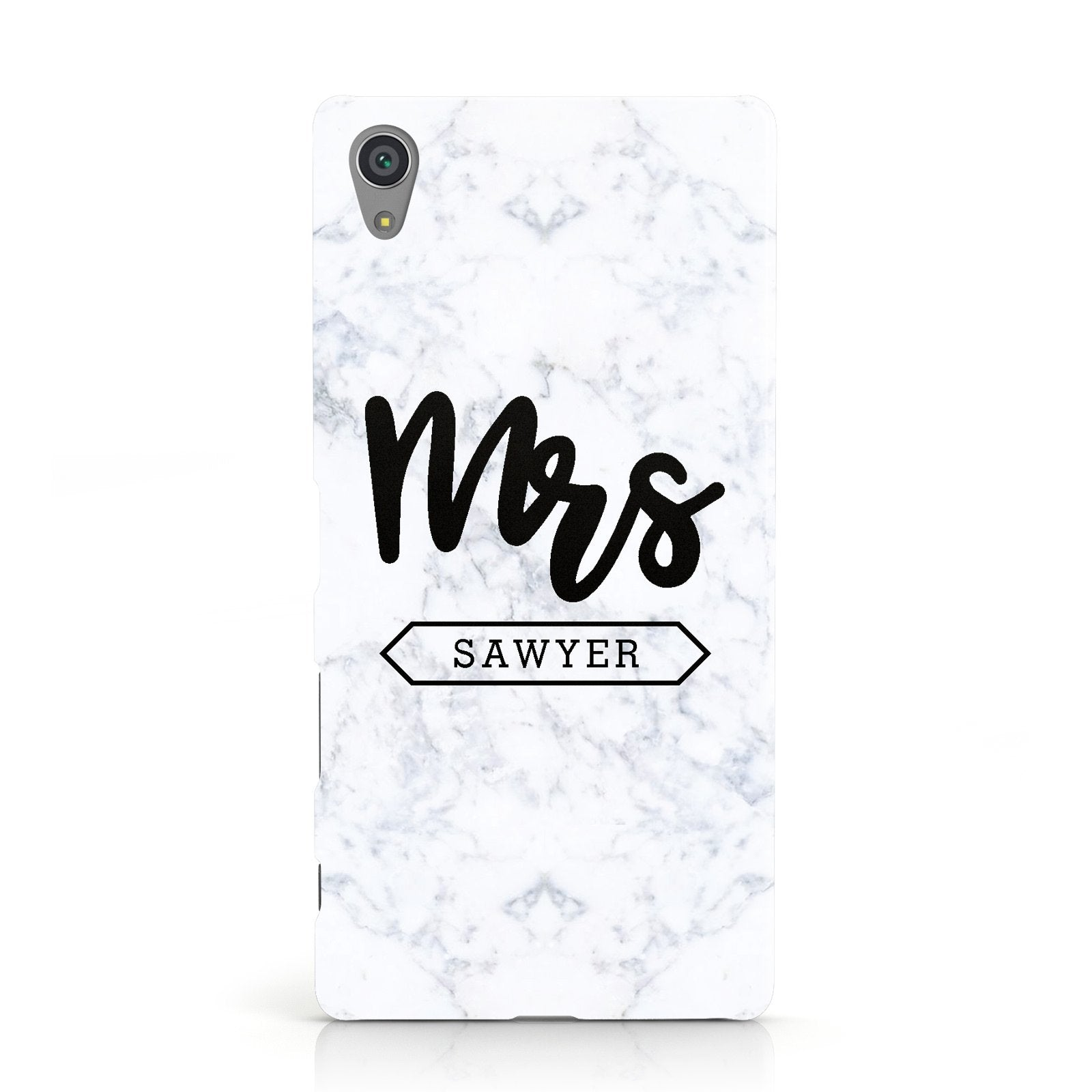 Personalised Black Mrs Surname On Marble Sony Xperia Case