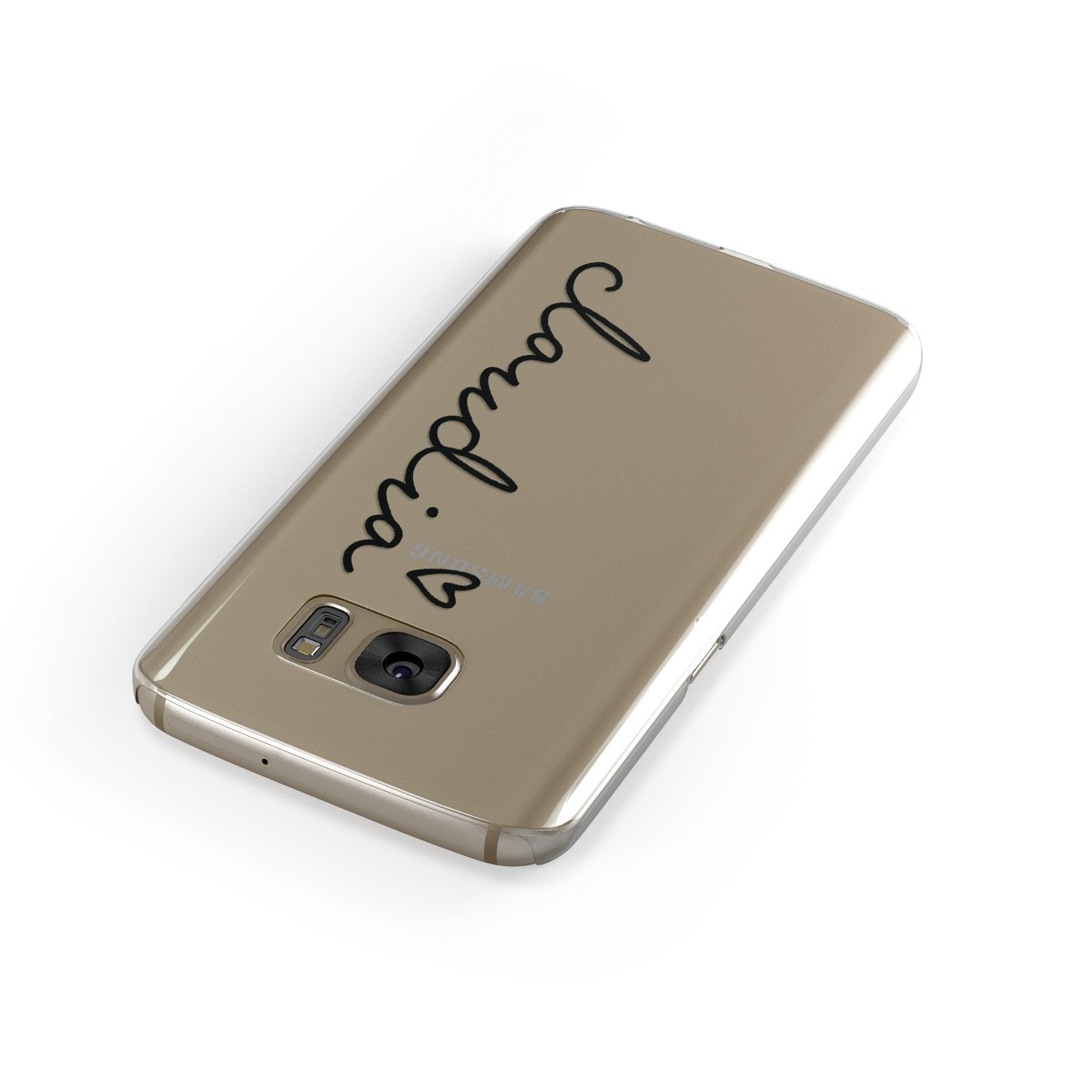 Personalised Black Name & Heart Handwriting Samsung Galaxy Case Front Close Up