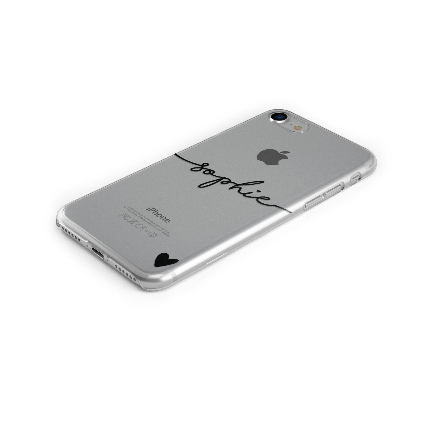 Personalised Black Name & One Heart Clear Apple iPhone Case Bottom Cutout