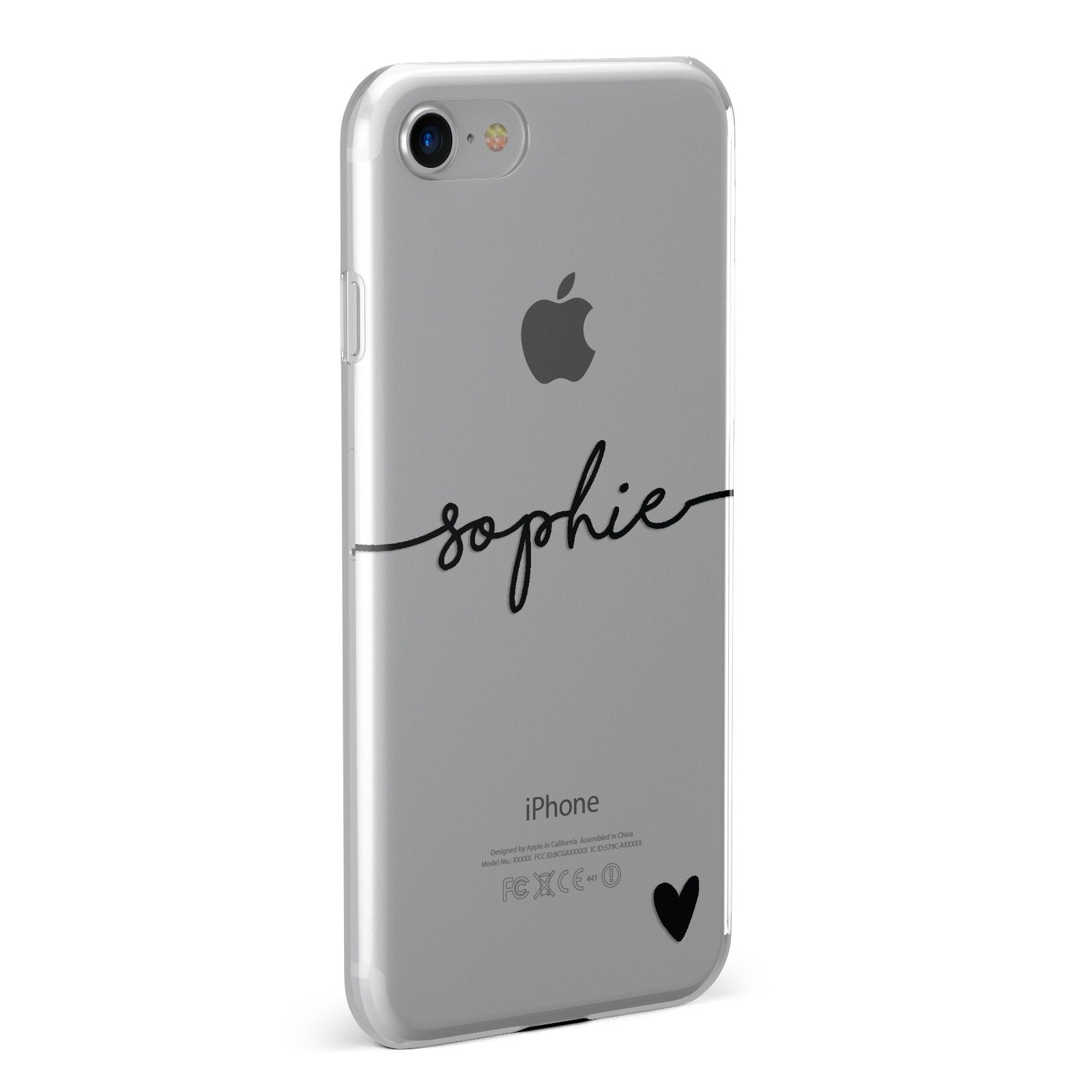 Personalised Black Name & One Heart Clear Apple iPhone Case Fourty Five Degrees