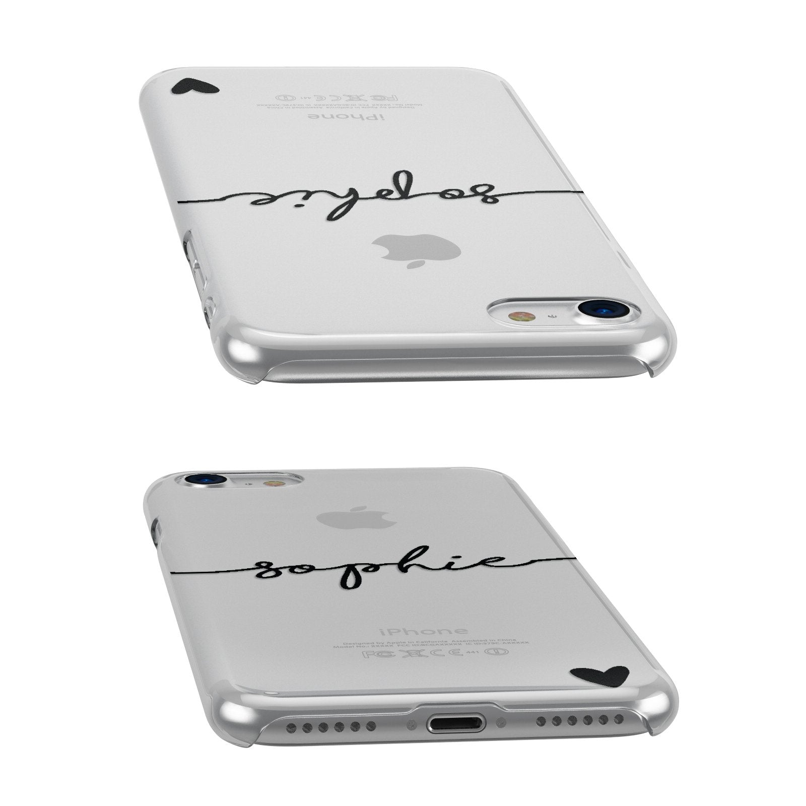 Personalised Black Name & One Heart Clear Apple iPhone Case Front Close Up