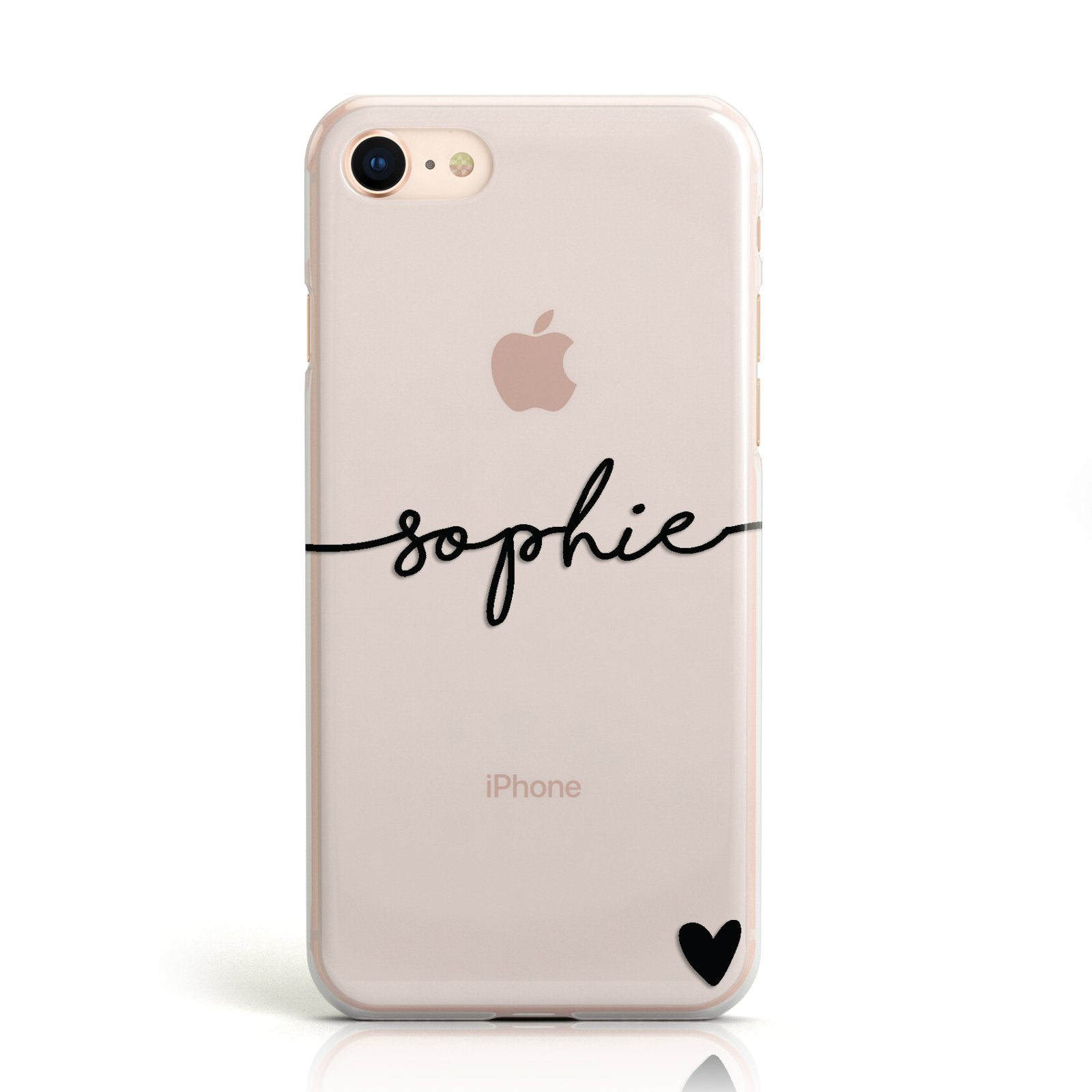 Personalised Black Name & One Heart Clear Apple iPhone Case