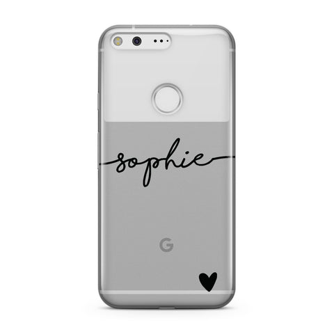 Personalised Black Name & One Heart Clear Google Case