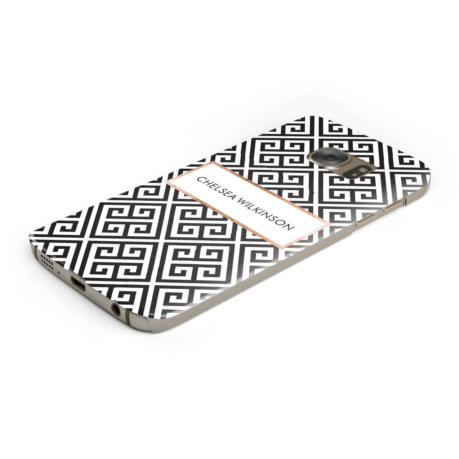 Personalised Black Pattern Name Or Initials Samsung Galaxy Case Bottom Cutout