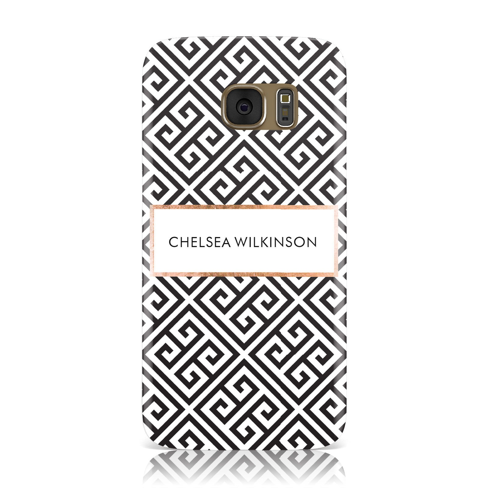 Personalised Black Pattern Name Or Initials Samsung Galaxy Case