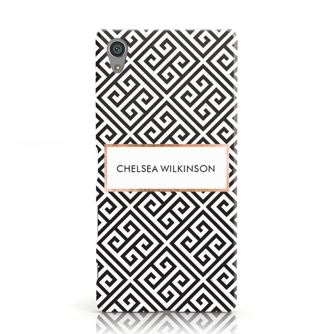 Personalised Black Pattern Name Or Initials Sony Xperia Case