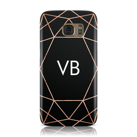 Personalised Black Rose Gold Initials Geometric Samsung Galaxy Case