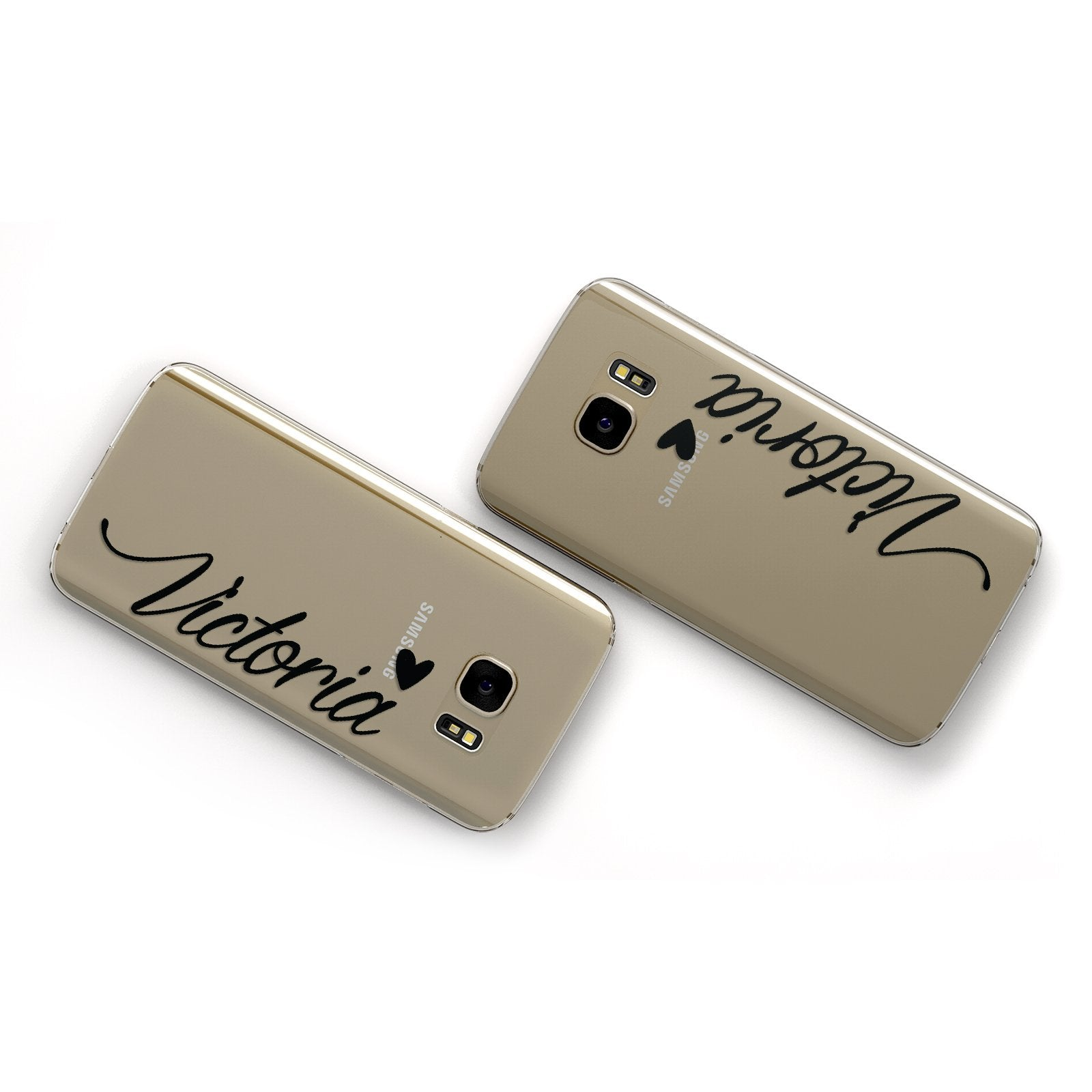 Personalised Black Script Name & Heart Clear Samsung Galaxy Case Flat Overview