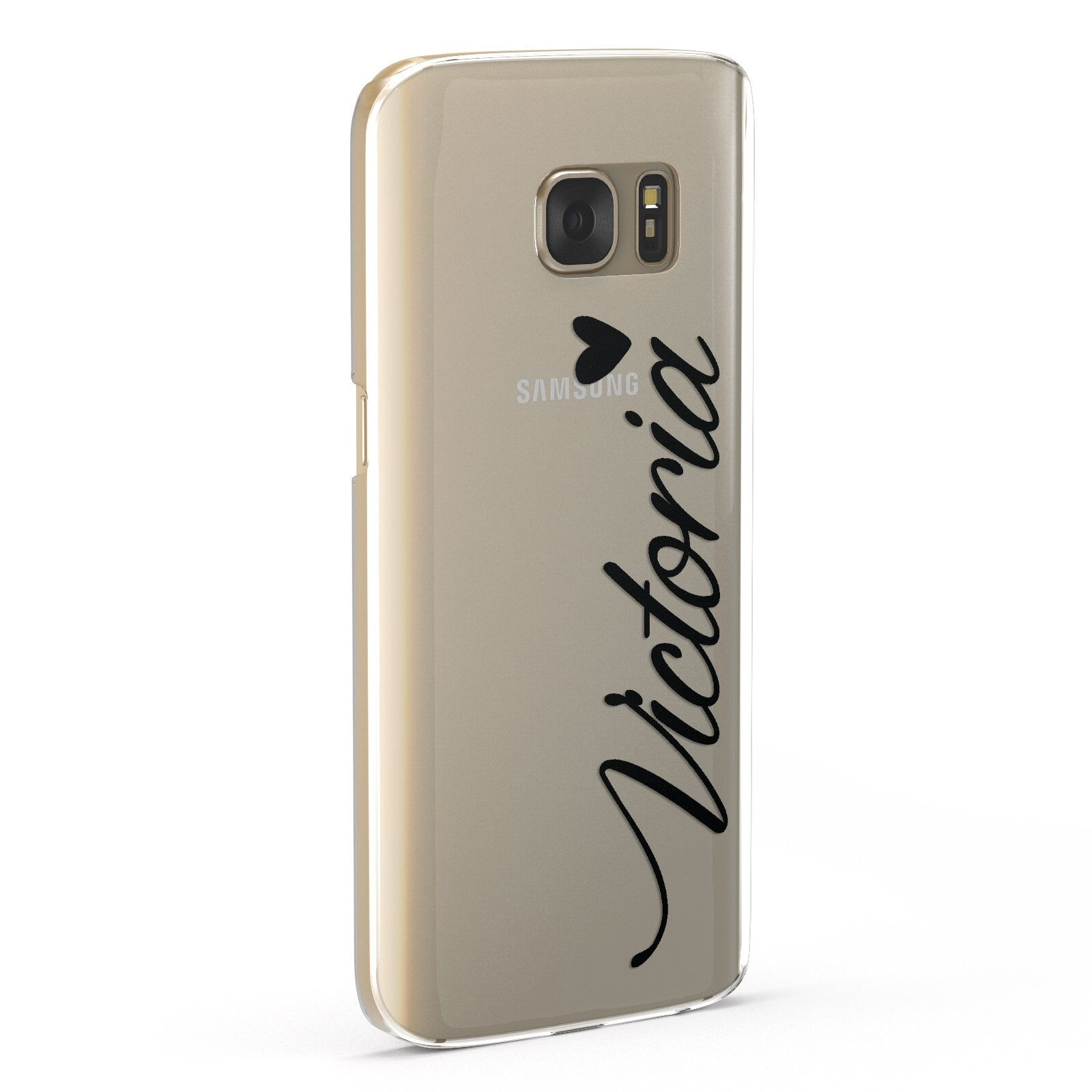 Personalised Black Script Name & Heart Clear Samsung Galaxy Case Fourty Five Degrees