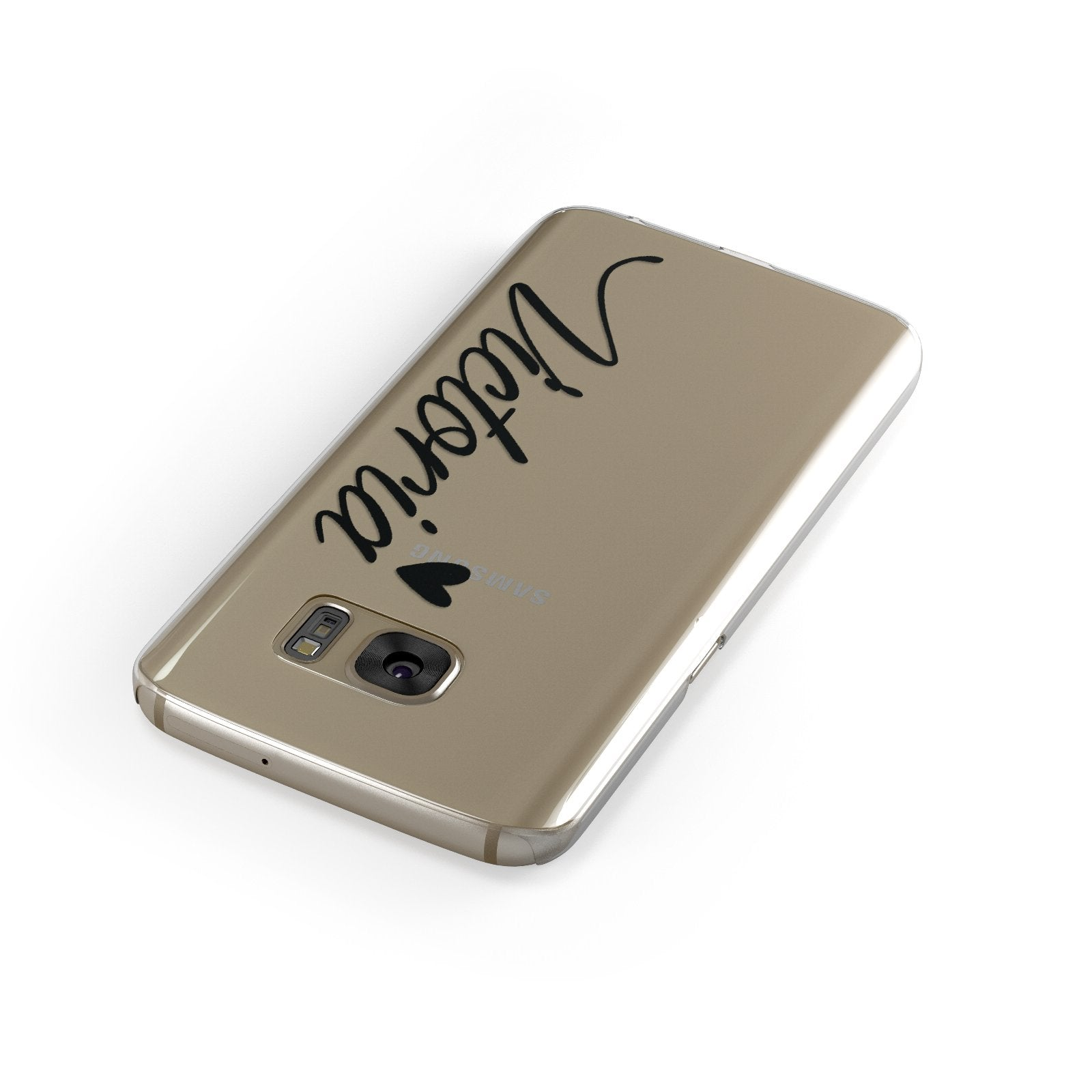 Personalised Black Script Name & Heart Clear Samsung Galaxy Case Front Close Up