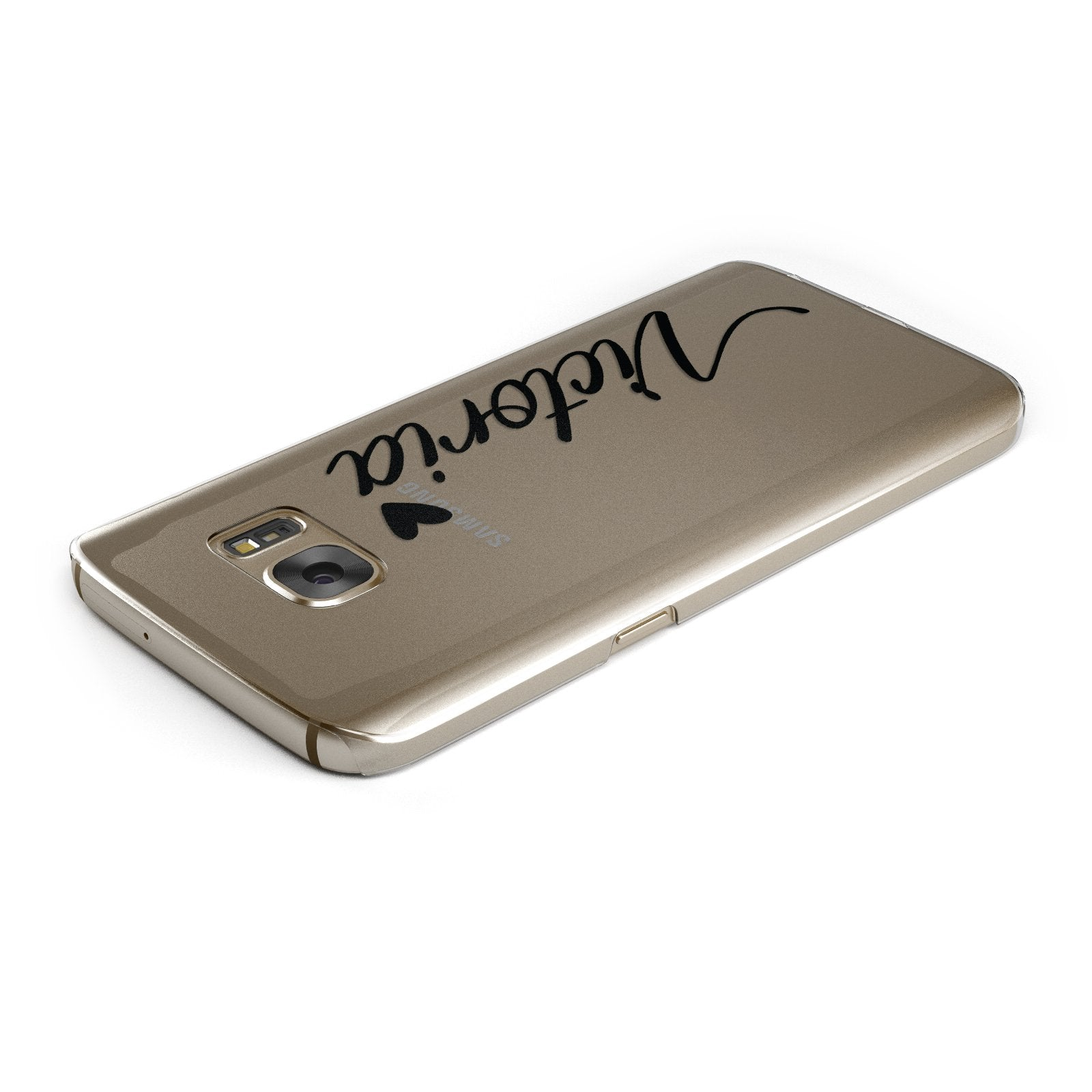 Personalised Black Script Name & Heart Clear Samsung Galaxy Case Top Cutout