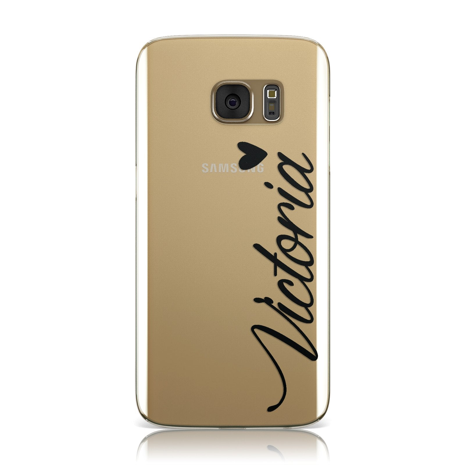 Personalised Black Script Name & Heart Clear Samsung Galaxy Case