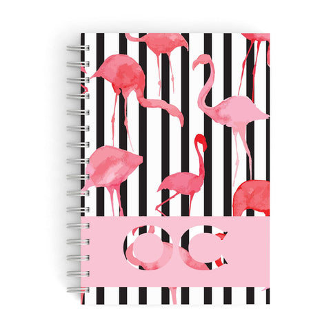 Black Striped Personalised Flamingo A5 Hardcover Notebook