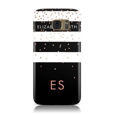 Personalised Black Striped Name Initials Samsung Galaxy Case