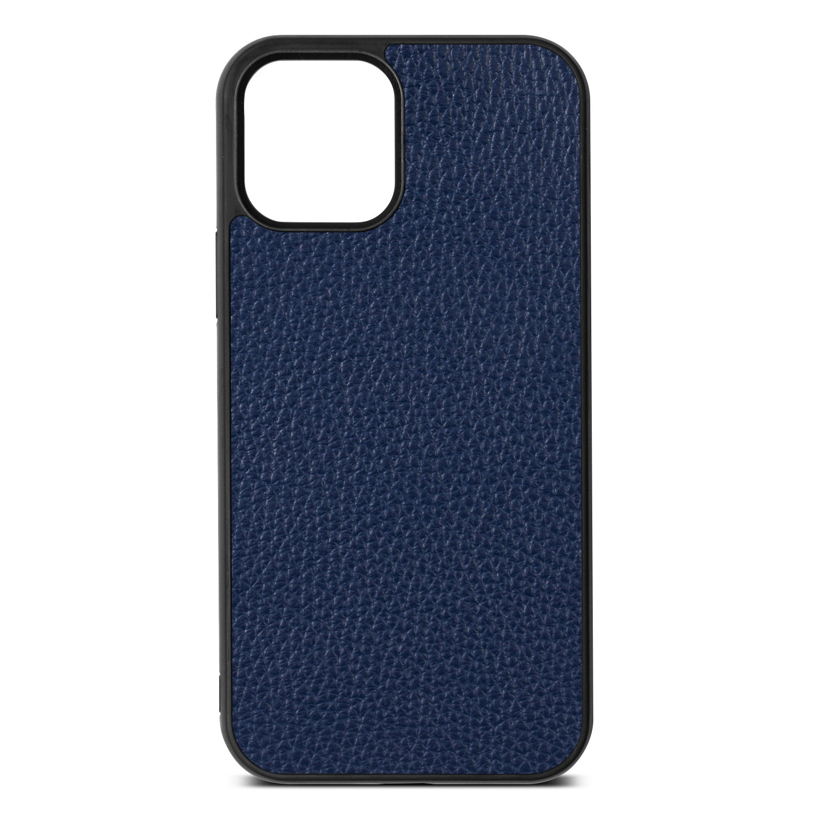 Blank iPhone 12 Navy Blue Pebble Grain Leather Case