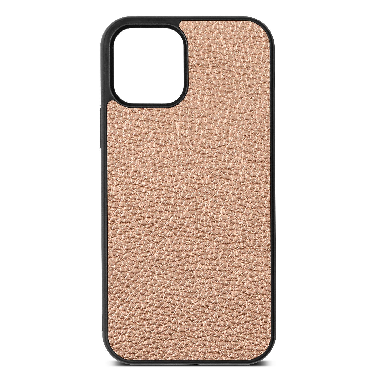 Blank iPhone 12 Rose Gold Pebble Leather Case
