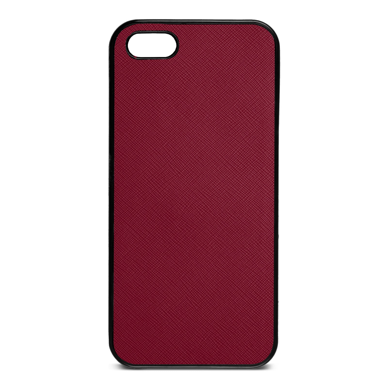 Blank Personalised Dark Red Saffiano Leather iPhone 5 Case