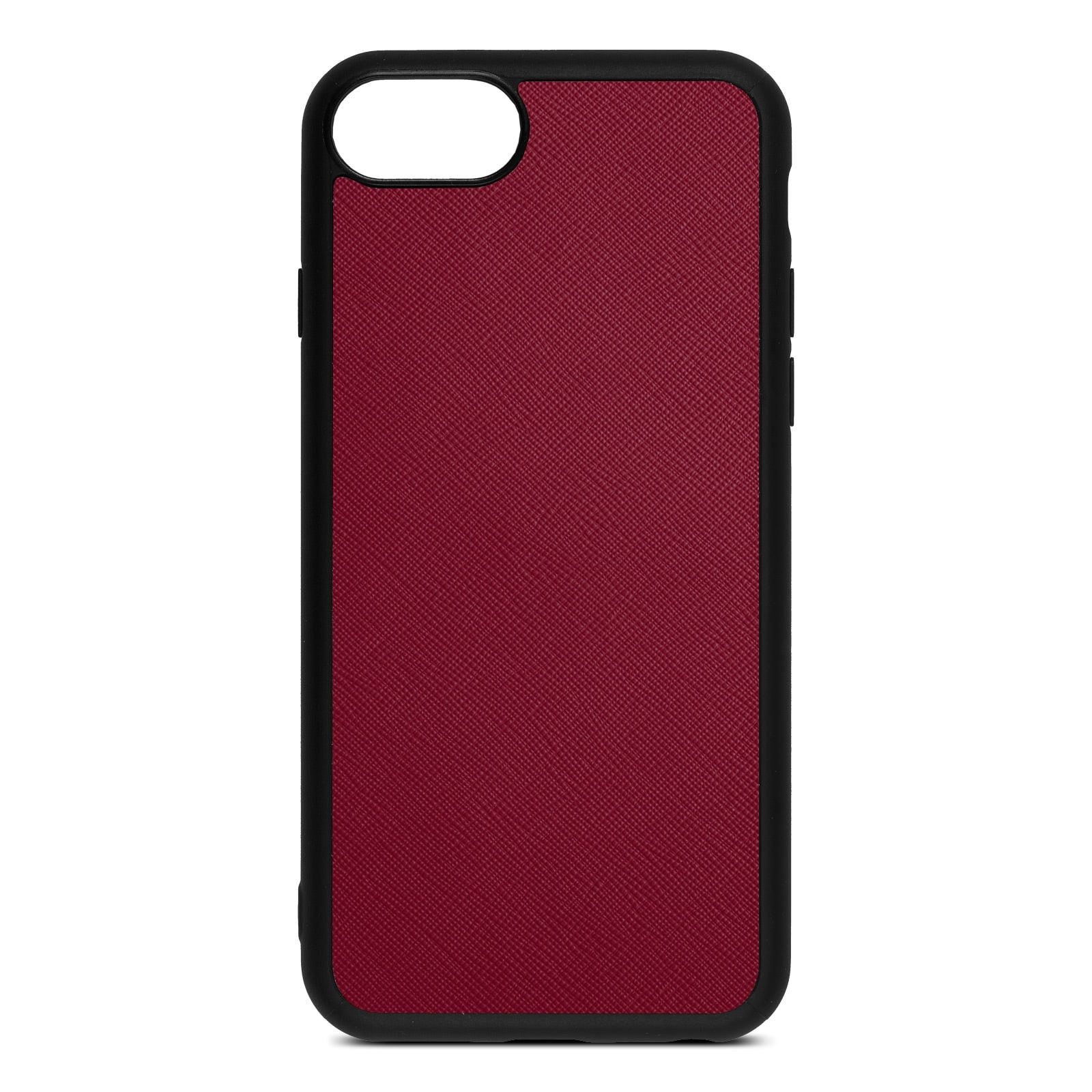 Blank Personalised Dark Red Saffiano Leather iPhone 8 Case