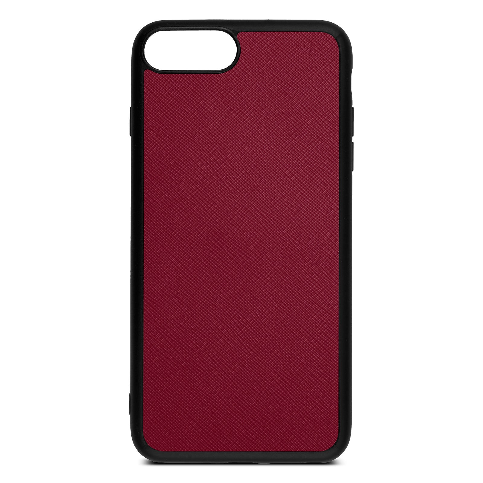 Blank Personalised Dark Red Saffiano Leather iPhone 8 Plus Case