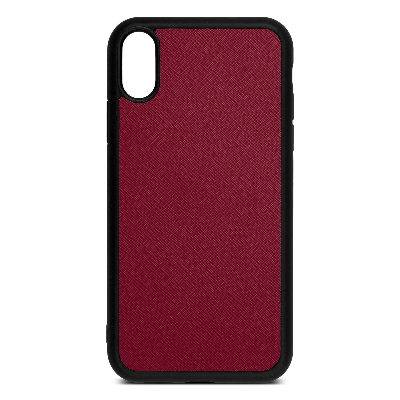 Blank Personalised Dark Red Saffiano Leather iPhone XR Case