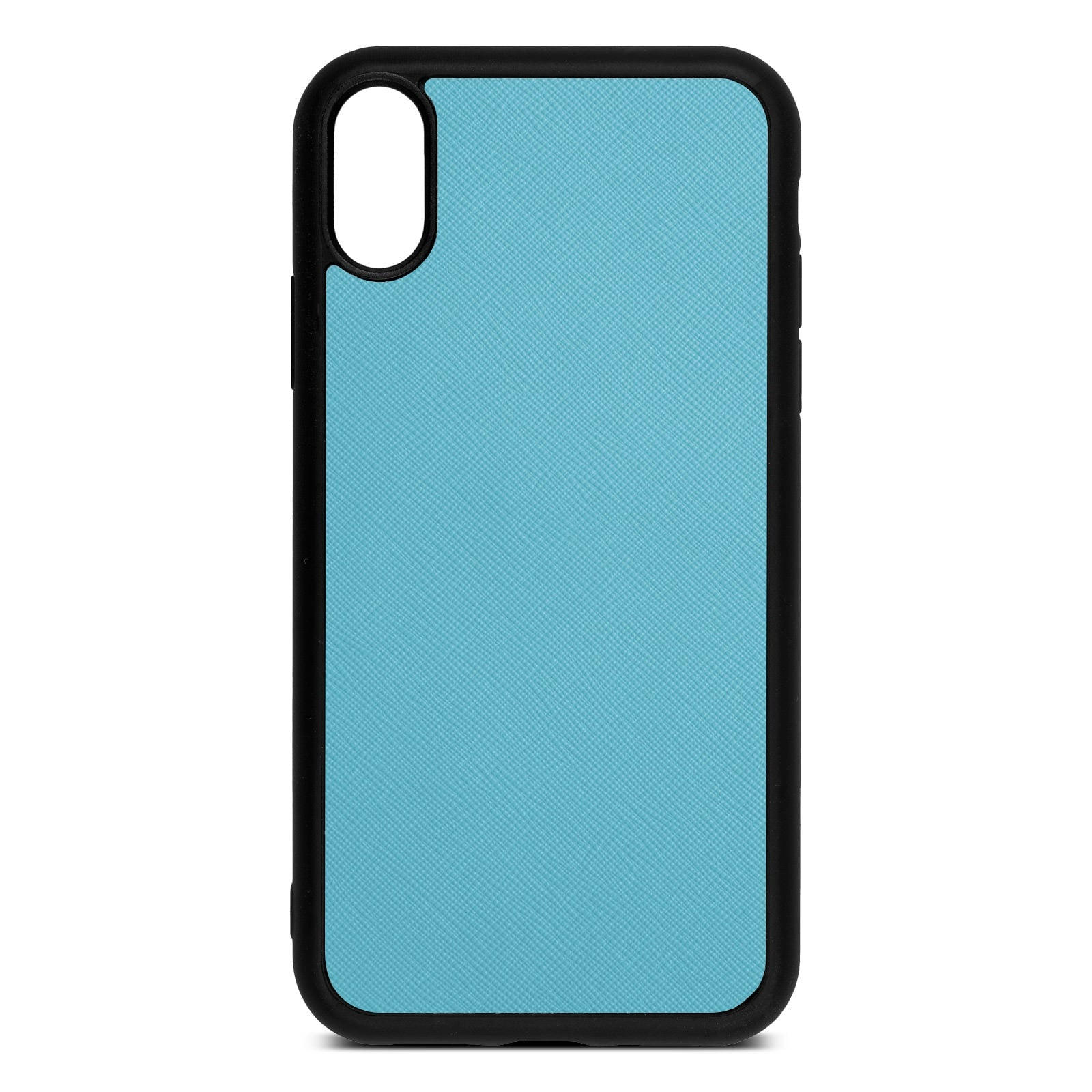 Blank Personalised Sky Blue Saffiano Leather iPhone XR Case